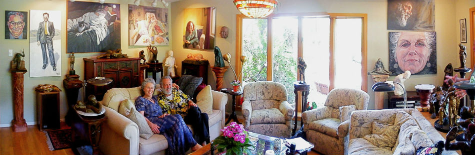 Alice and Richard Matzkin at home, surrounded by their artwork